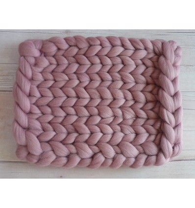 Chunky wool blanket DIRTY LIGHT PINK