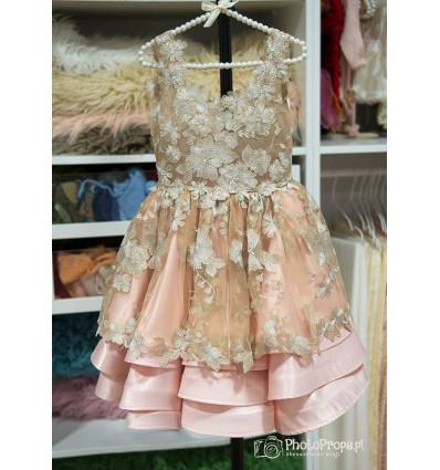 Sukieneczka koronkowo szyfonowa ECRU