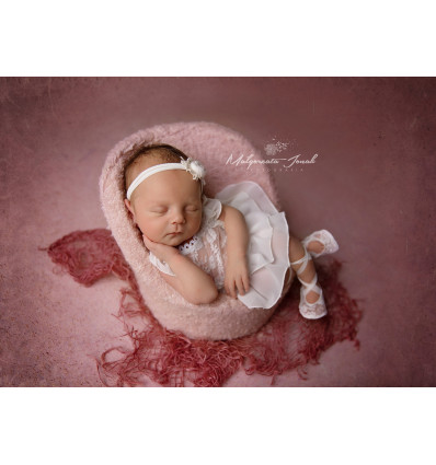 SET BALLERINA lace romper with headband and shoes NB